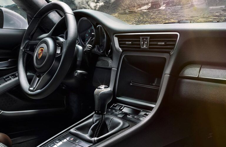 2017 Porsche 911 R interior with manual transmission