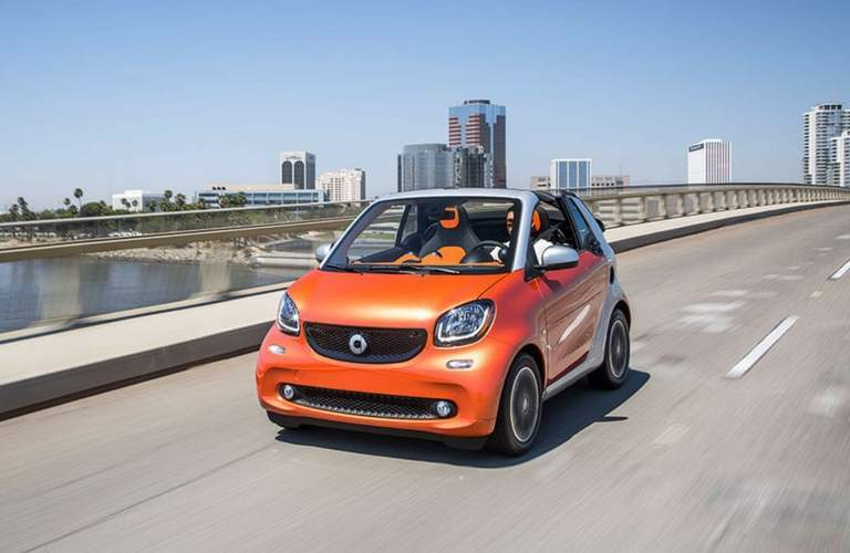 2017 smart fortwo passion cabrio on the highway