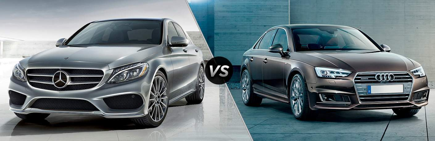 Comparison image showing the 2018 Mercedes-Benz C-Class on the left side and the 2018 Audi A4 on the right side with VS in the middle