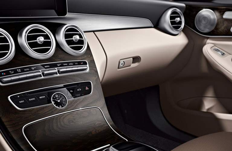 view of the glove box in the 2018 Mercedes-Benz C-Class