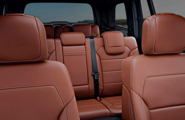 view back at the second and third row passenger space in the 2018 Mercedes-Benz GLS