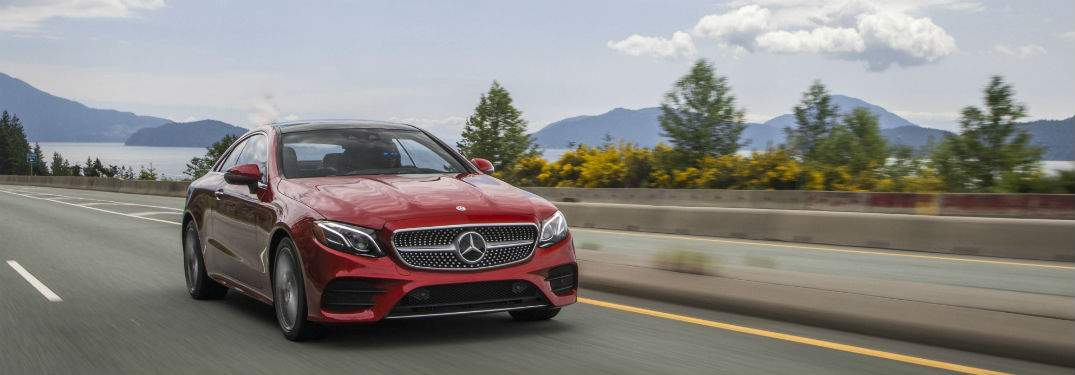 View of the 2018 Mercedes-Benz E-Class driving on a highway