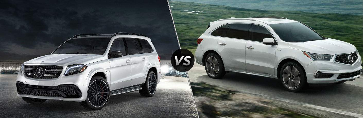 a comparison image of the 2018 Mercedes-Benz GLS vs 2018 Acura MDX with a vs in the center