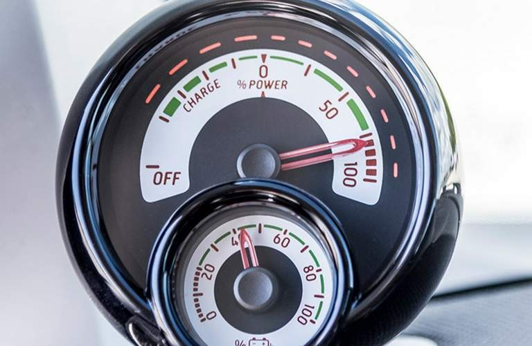 power gauge inside the 2018 smart fortwo electric drive Passion Coupe showing it fully charged
