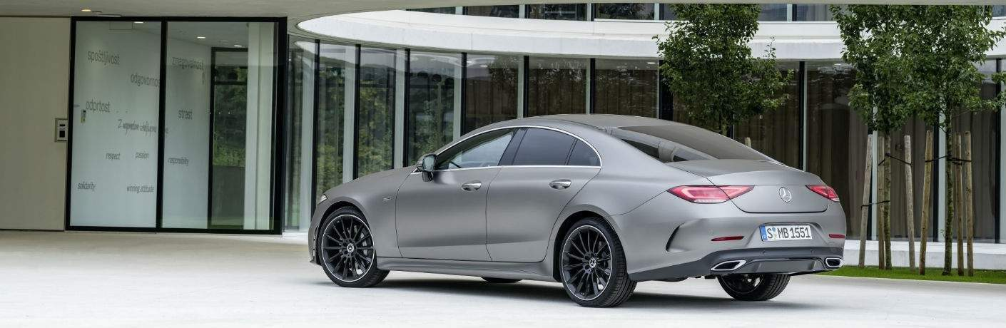 2019 Mercedes-Benz CLS Coupe parked by a modern building