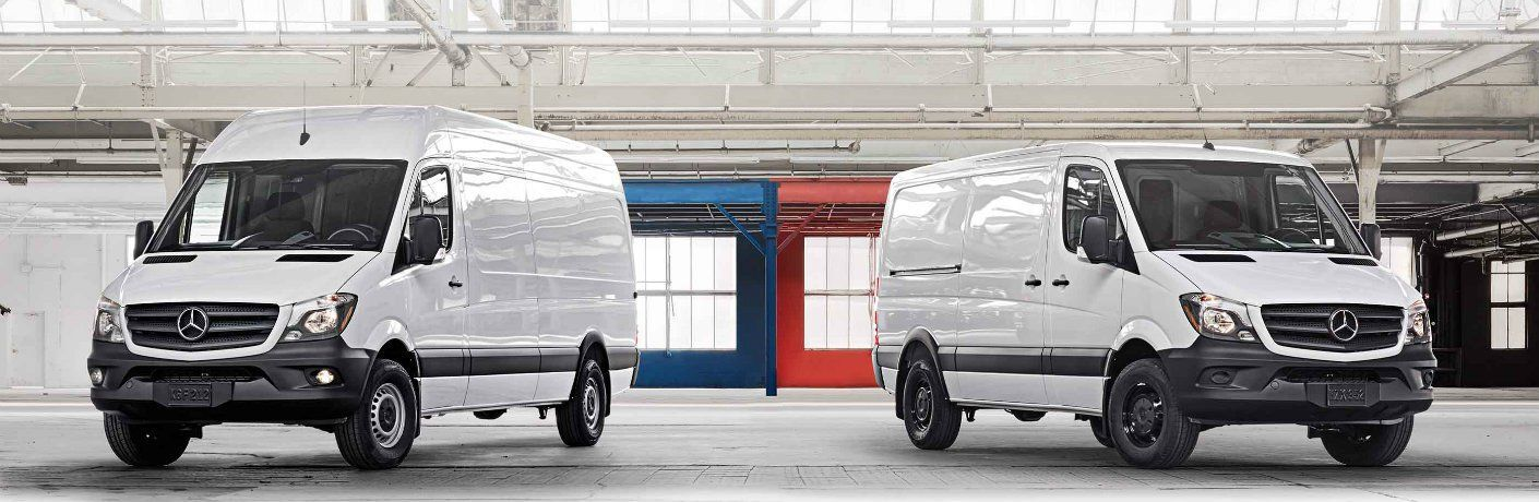 two 2018 Mercedes-Benz Metris Cargo Vans parked next to each other