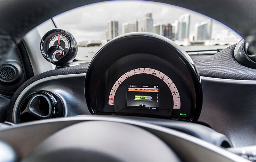 interior gauges of the 2018 smart fortwo electric drive pure coupe