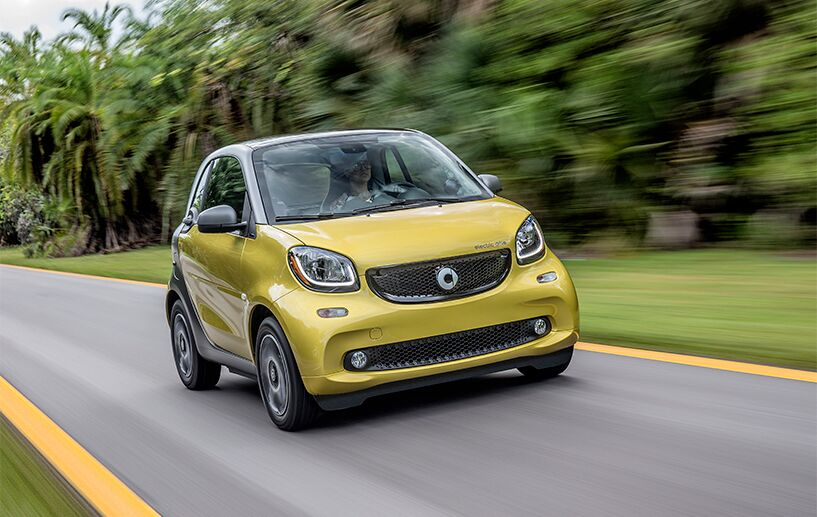 exterior front of the 2018 smart fortwo electric drive pure coupe