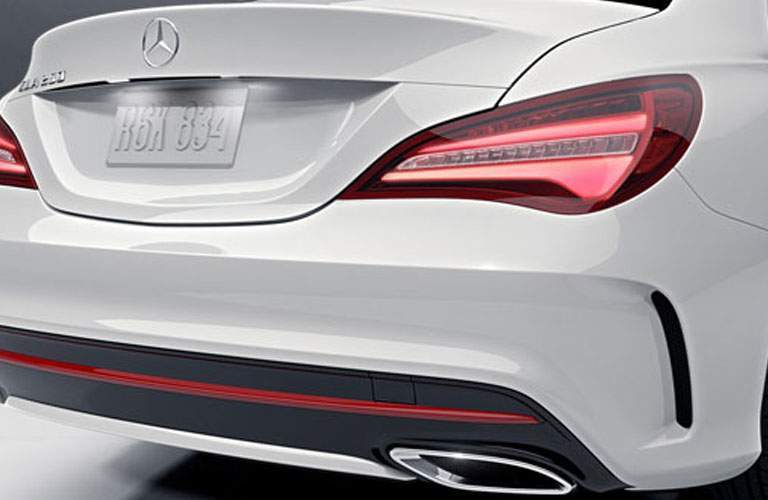 Close up of 2018 Mercedes-Benz CLA 4MATIC® trunk and taillights