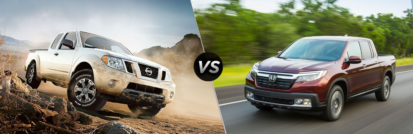 split screen photo comparing 2018 nissan frontier to 2018 honda ridgeline