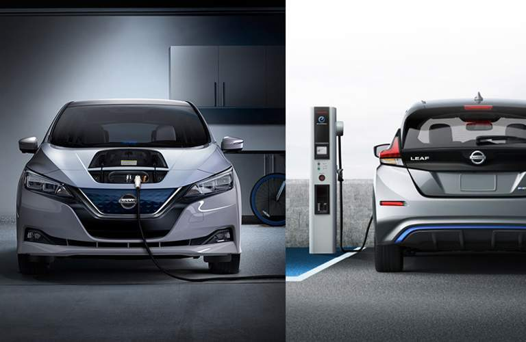 split screen showing front and back of 2018 nissan LEAF while filling up