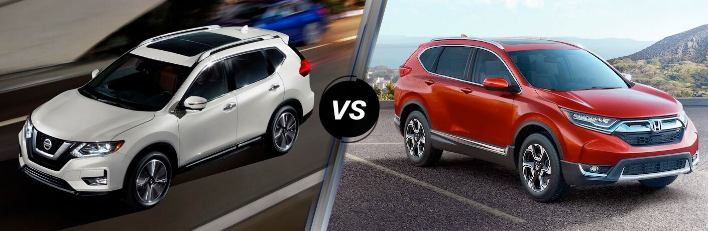 2019 Nissan Rogue next to a 2019 Honda CR-V