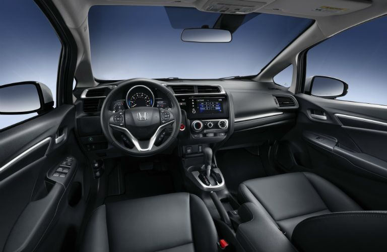2018 honda fit interior showing off infotainment unit and seating