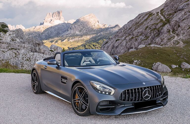 Front exterior view of a gray 2018 Mercedes-AMG GT Roadster
