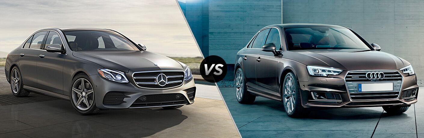 2018 Mercedes-Benz E-Class exterior front fascia passenger side vs 2018 Audi A4 exterior front fascia and passenger side