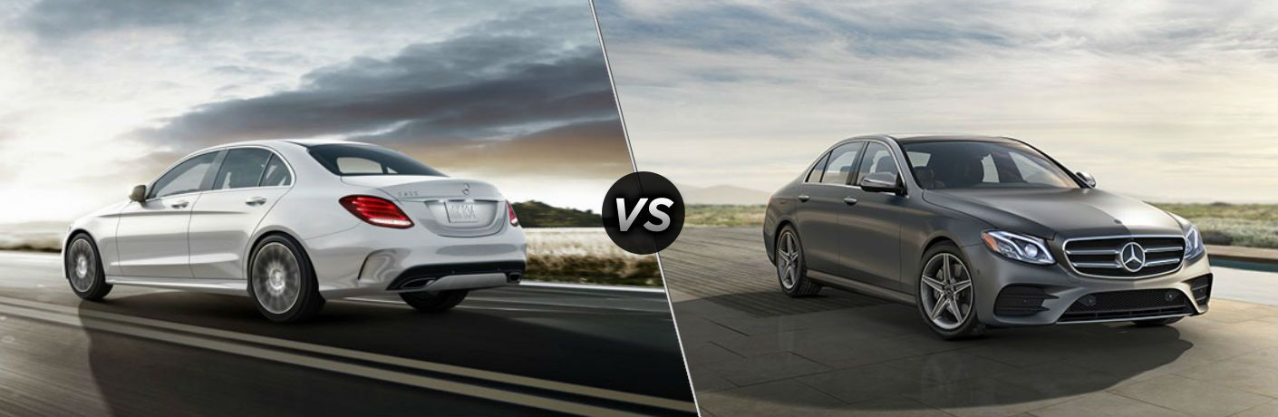 """Driver side exterior view of a white 2018 Mercedes-Benz C-class on the left """"vs"""" Passenger side exterior view of a gray 2018 Mercedes-Benz E-Class on the right"""