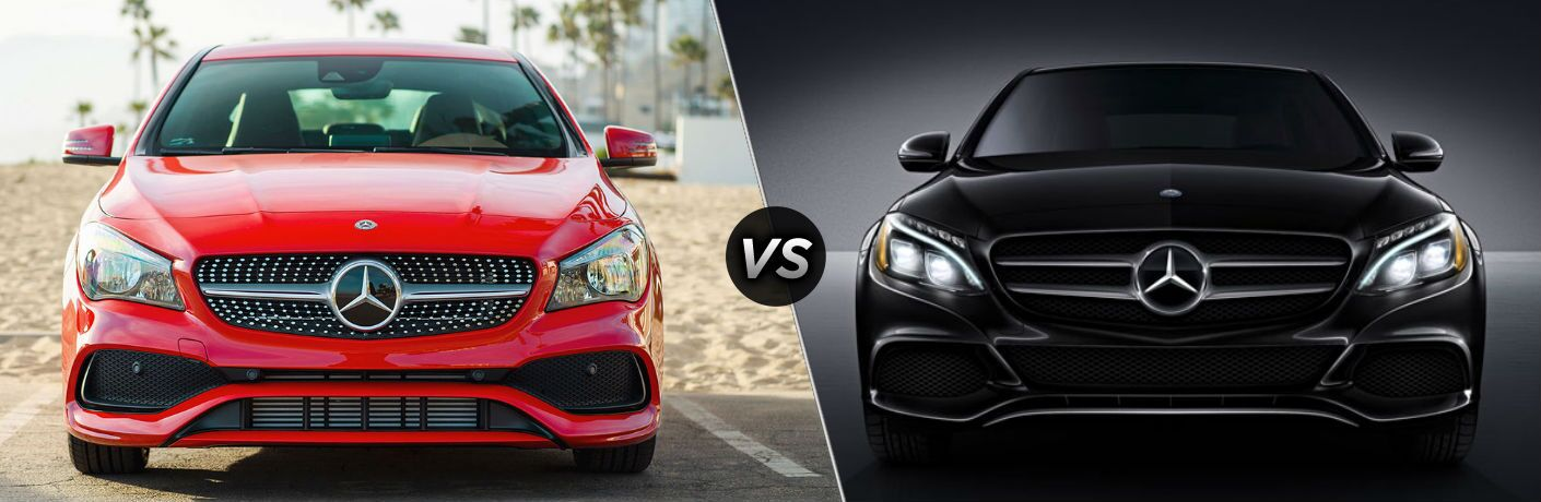 "Front exterior view of a red 2018 Mercedes-Benz CLA Coupe on the left ""vs"" front exterior view of a black 2018 Mercedes-Benz C300 sedan in the right"
