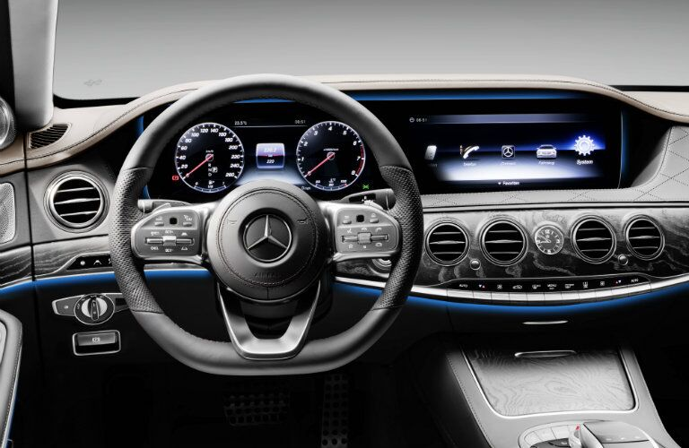 2018 Mercedes-Benz S-Class sedan interior steering wheel and partial dashboard with touchscreen