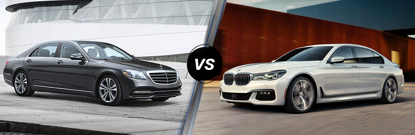 2018 Mercedes-Benz S-Class sedan exterior front fascia and passenger side vs 2018 BMW 7 Series sedan exterior front fascia and drivers side