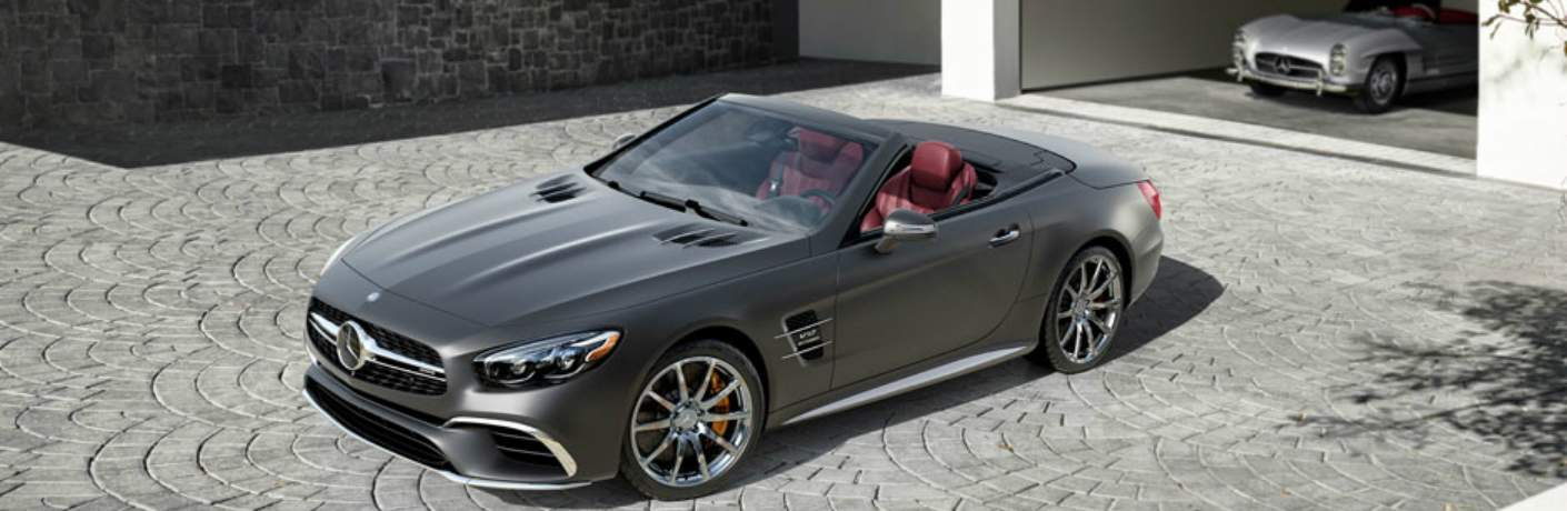 Mercedes-Benz SL Parked Near a Garage