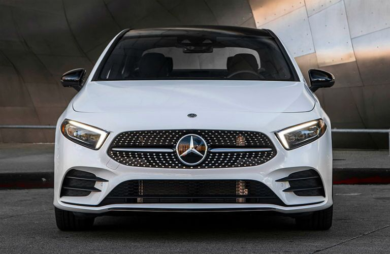 Front exterior view of a white 2019 Mercedes-Benz A-Class Sedan