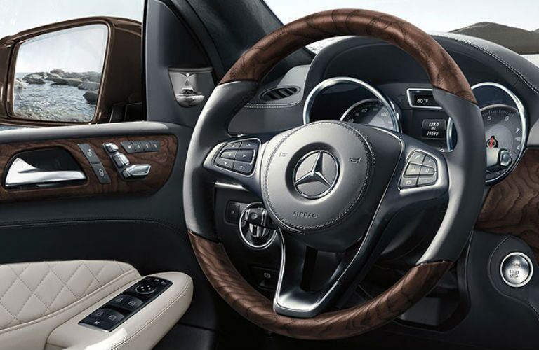 Steering wheel mounted controls of the 2019 Mercedes-Benz GLS SUV