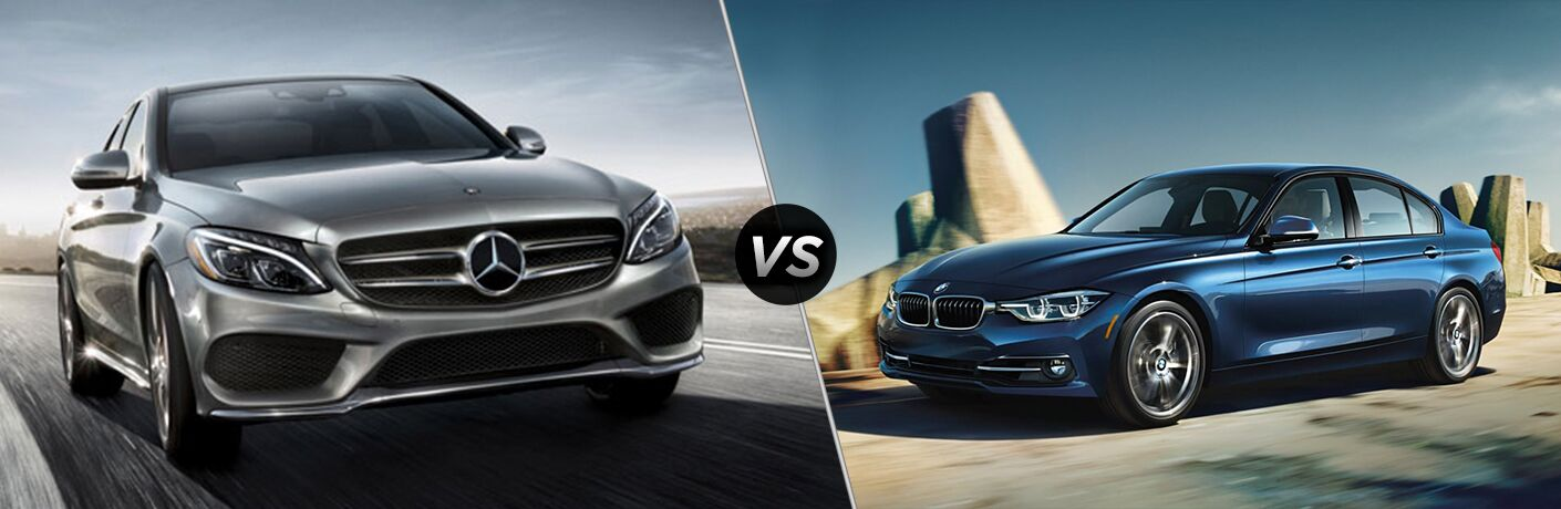 """Front exterior view of a 2019 Mercedes-Benz C 300 Sedan on the left """"vs"""" driver side exterior view of a blue 2019 BMW 330i Sedan"""