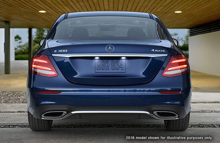 Rear exterior view of a blue 2019 Mercedes-Benz E-Class Sedan