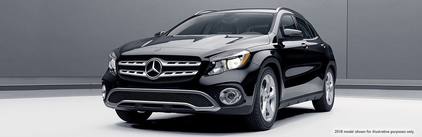 front view of black mercedes benz gla