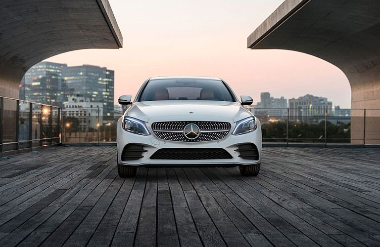 front view of white mercedes-benz c class