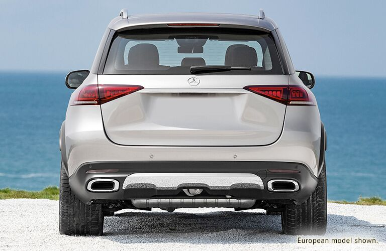Rear exterior view of a gray 2020 Mercedes-Benz GLE