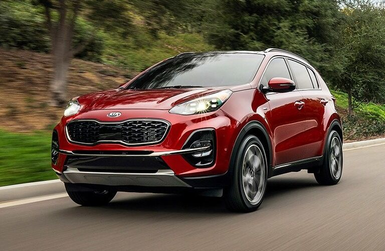 2020 Kia Sportage red front view on the road