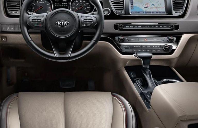 2021 Kia Sedona interior dash and wheel