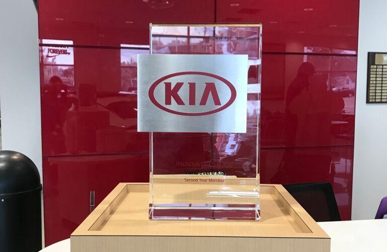 Kia VaDevere President's Award closeup