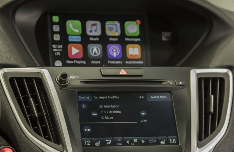 Center touchscreen interfaces of 2019 Acura TLX