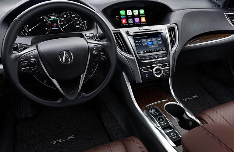 Steering wheel and center touchscreen of 2019 Acura TLX