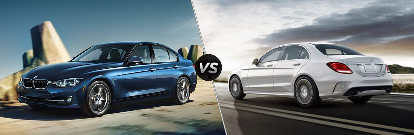 Blue 2018 BMW 3 Series, VS Icon, and White 2018 Mercedes-Benz C-Class