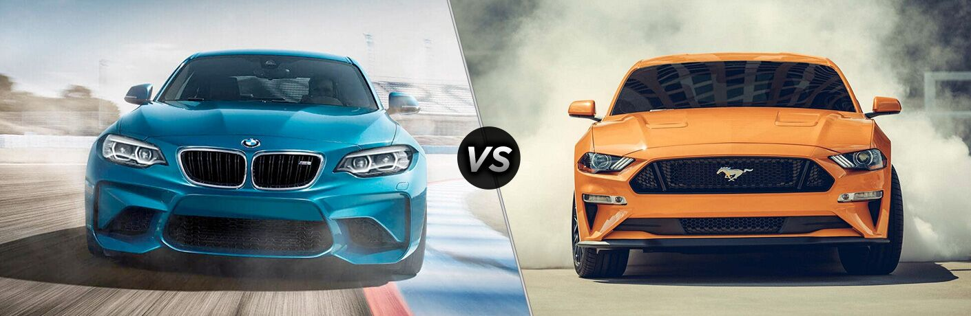 Blue 2018 BMW M2, VS Icon, and Orange 2018 Ford Mustang