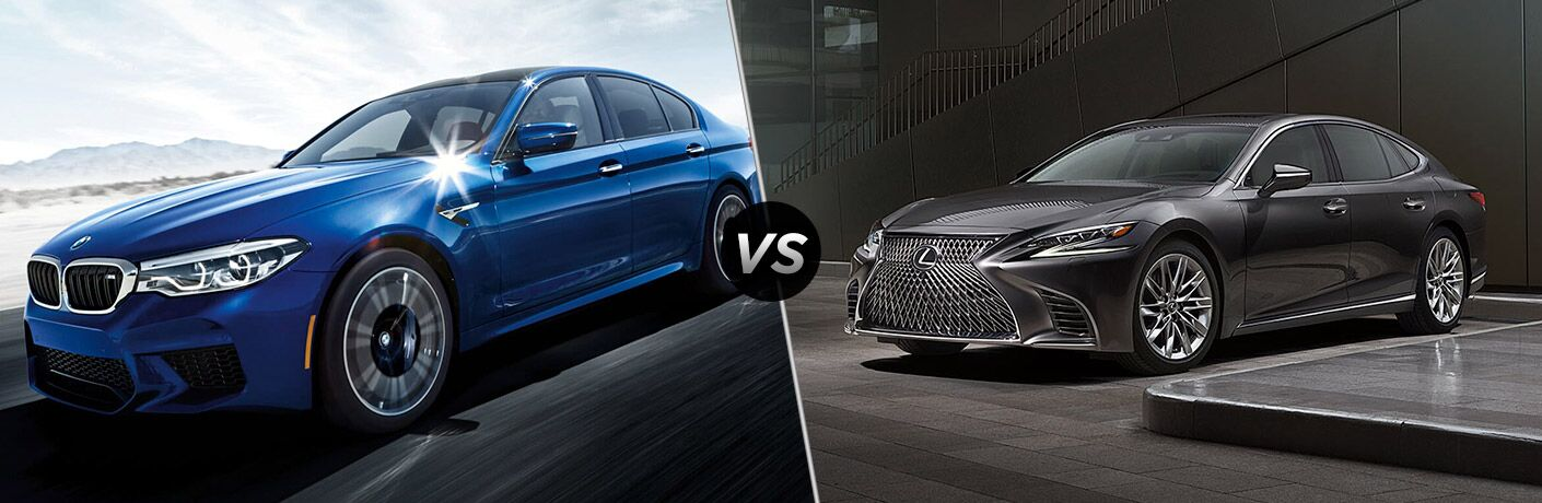 Blue 2018 BMW M5, VS Icon, and Grey 2018 Lexus LS