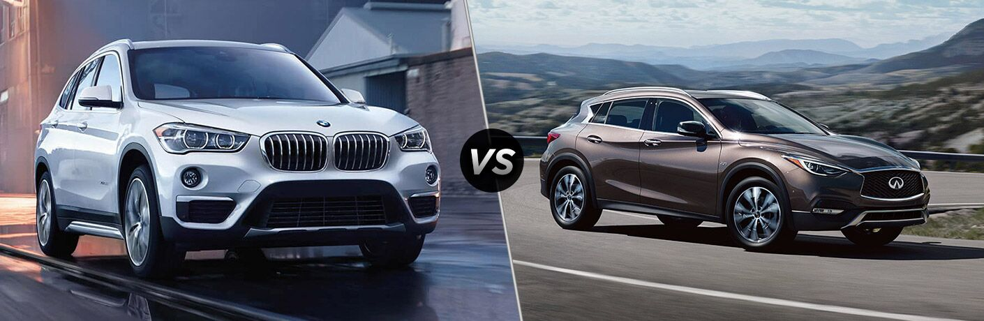 White 2018 BMW X1, VS Icon, and Brown 2018 Infiniti QX30