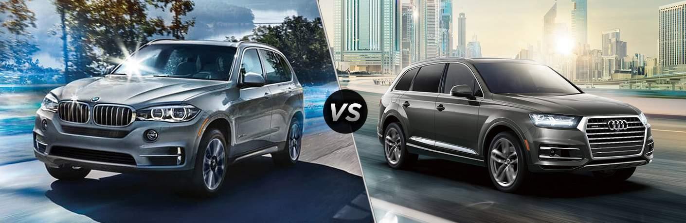 Silver 2018 BMW X5, VS Icon, and Dark Grey Audi Q7