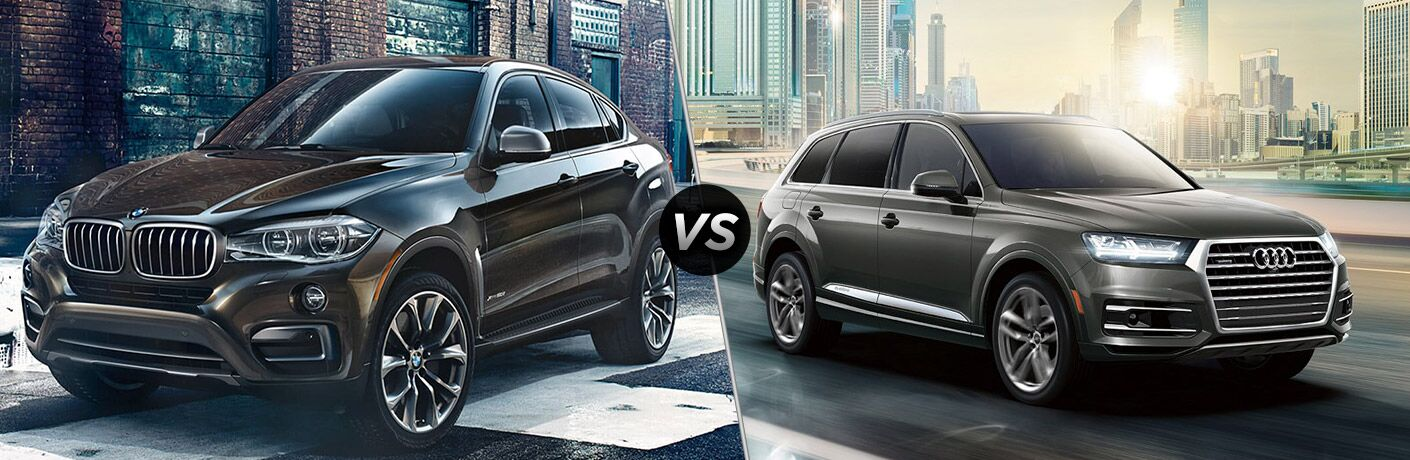 Brown 2018 BMW X6, VS Icon, and Grey 2018 Audi Q7