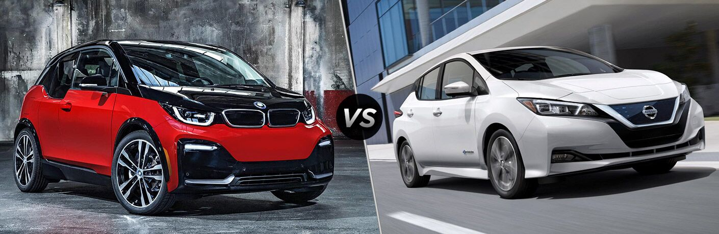 Red and Black 2018 BMW i3, VS Icon, and White 2018 Nissan Leaf