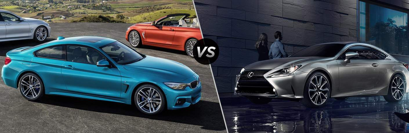 Blue 2018 BMW 4 Series, VS Icon, and Grey 2018 Lexus RC