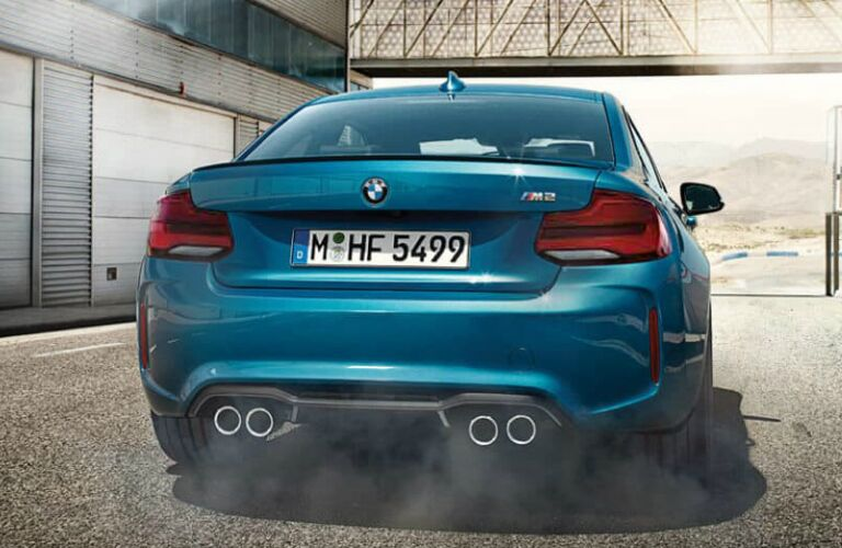 Rear View of Blue 2018 BMW M2