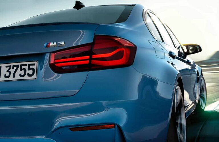 Rear View of Blue 2018 BMW M3