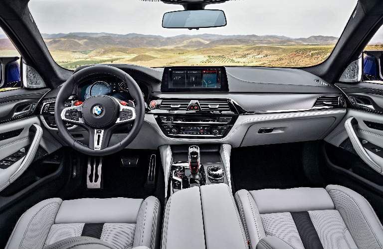 Dashboard and Grey Front Seats of 2018 BMW M5