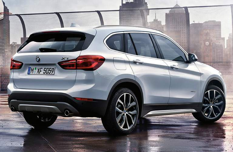 Rear View of White 2018 BMW X1