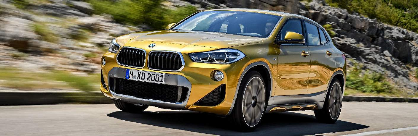 Front View of Yellow 2018 BMW X2