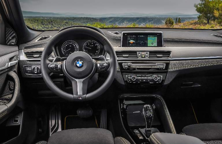 Dashboard and Grey Front Seats of 2018 BMW X2